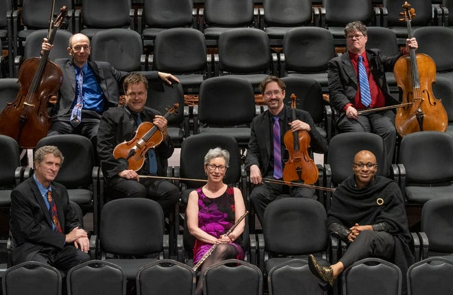 Members of the Worcester Chamber Music Society pictured at the BrickBox, where they will perform Sept. 26. From left, front row, Randall Hodgkinson, Tracy Kraus and Cailin Marcel; middle row,  Peter Sulski and Mark Berger; back row,  Joshua Gordon and David Russell.