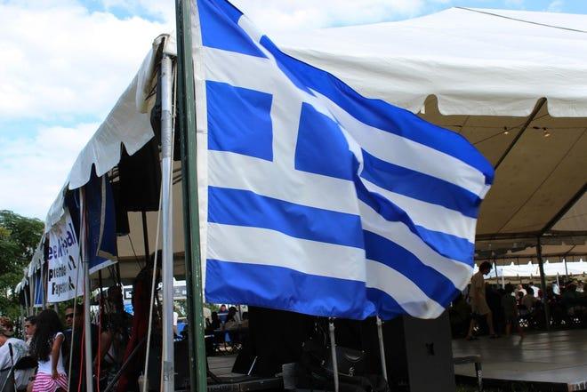 Greek flag waving at the Greek Festival in 2019.