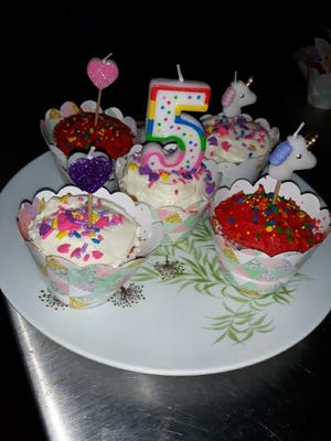 Colorful cupcakes to celebrate Abigail's 5th birthday.