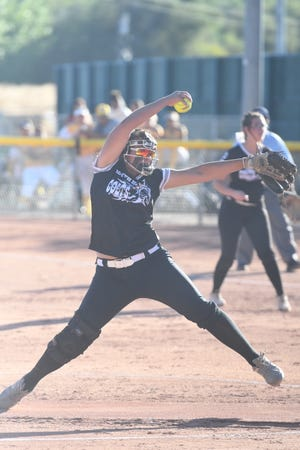 Emily Abraham of Pueblo South High School delivers a pitch during the Colts' 13-0 shutout of Pueblo County on Wednesday, Sept. 16, 2021 at Salas Field. [Chieftain photo/Jeff Letofsky]