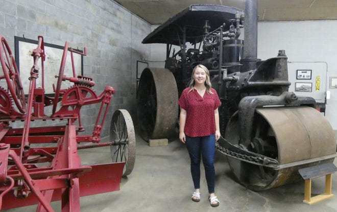 """Tanesha Pickering, executive director of the Galion History Center, says the 30-ton Galion Ironworks 1922 steam roller is """"certainly the first thing that catches your eye when you walk in the door"""" of the new Hayden-Helfrich Annex ."""