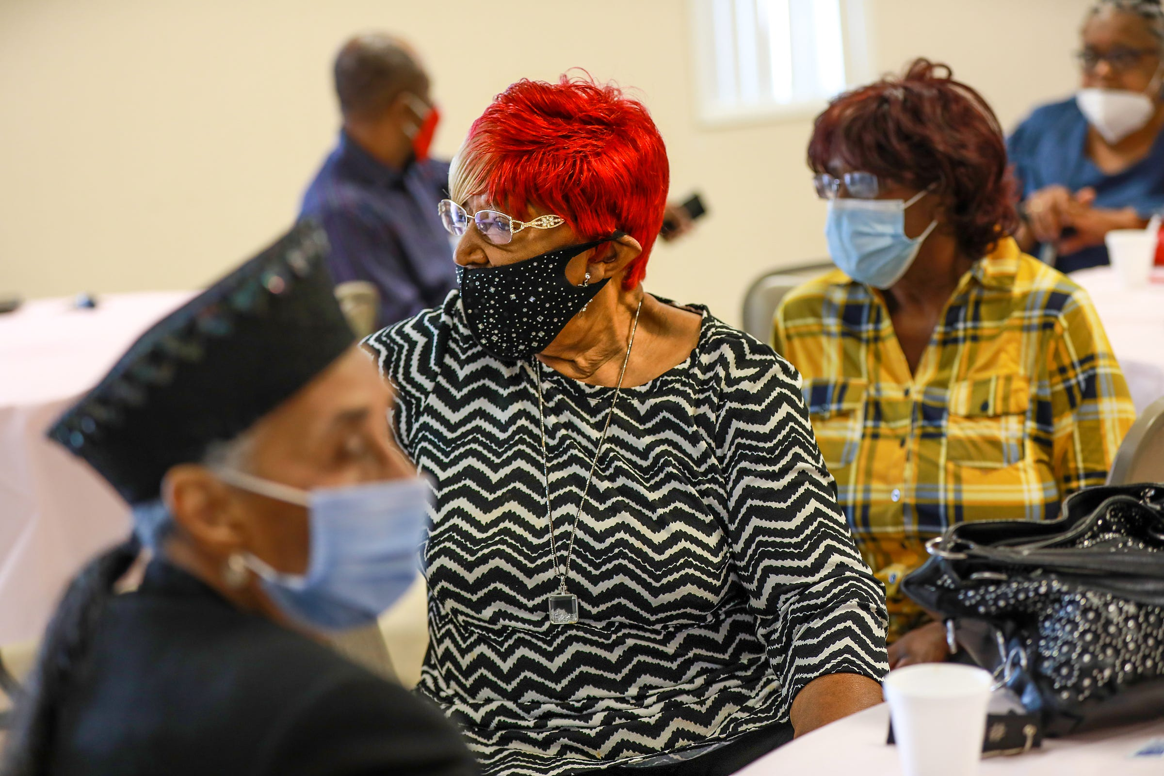 Bessie Stallworth, 90, of Detroit has been a member of the Northend Church of God and Christ since she moved to Detroit in 1950 during the second wave of the Great Migration from the south and has been committed to the church as much as she has been committed to raising her family in Detroit. Stallworth attends the Veterans Breakfast on Saturday, Sept. 11, 2021.