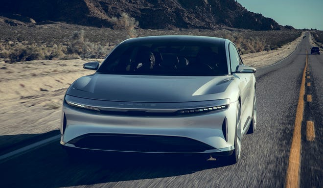 The Lucid EVs have the following projected ranges: Air Pure, 406 miles; Air Touring, 406 miles; Air Grand Touring, 517 miles; Air Dream Edition, 503 miles.