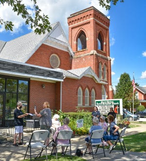 Some of the many volunteers who planted and maintained the community garden at Green Springs UMC, along with staff from the Sandusky County Health Department, gathered for a livestream from the church on Sept. 8.
