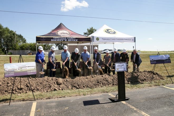 Officials break ground during a ceremony for new Tippecanoe County Law Enforcement Building and the Tippecanoe County Community Corrections expansion, Thursday, Sept. 16, 2021 in Lafayette. The $15 million project will add a 22,500 square feet to the Community Corrections facility and a new 20,000 square foot administration building in front of the existing Tippecanoe County Jail.
