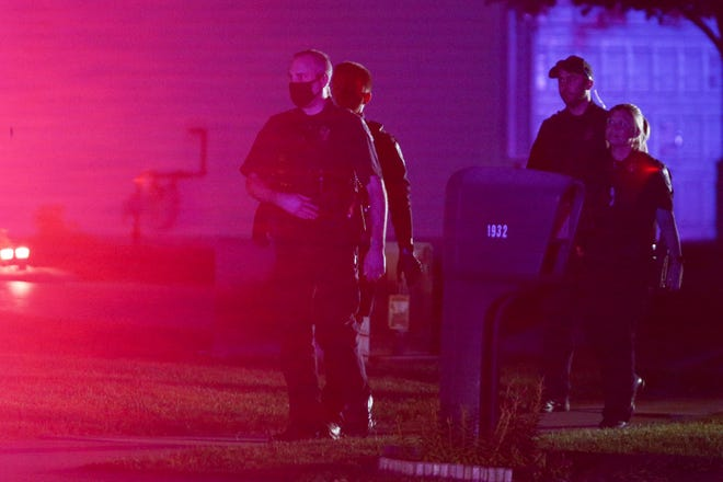 Lafayette Police investigate a shooting on the 2100 block of Honeybrook Way, Wednesday, Sept. 15, 2021 in Lafayette.