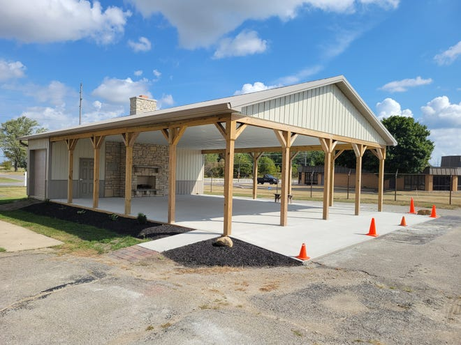 The new Marion Senior Center pavilion was built by Tri-Rivers students.
