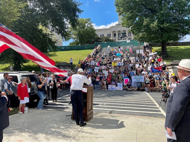 Rep. Bruce Griffey speaks at a rally Thursday, Sept. 16, 2021 outside the Tennessee state Capitol.