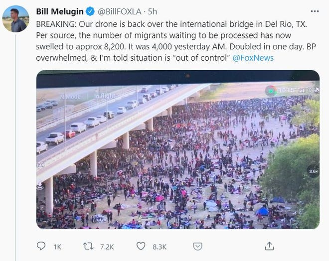 Fox News correspondent Bill Meguin shared this image via Twitter on Sept. 16, 2021, of migrants waiting to be processed in Del Rio, Texas.