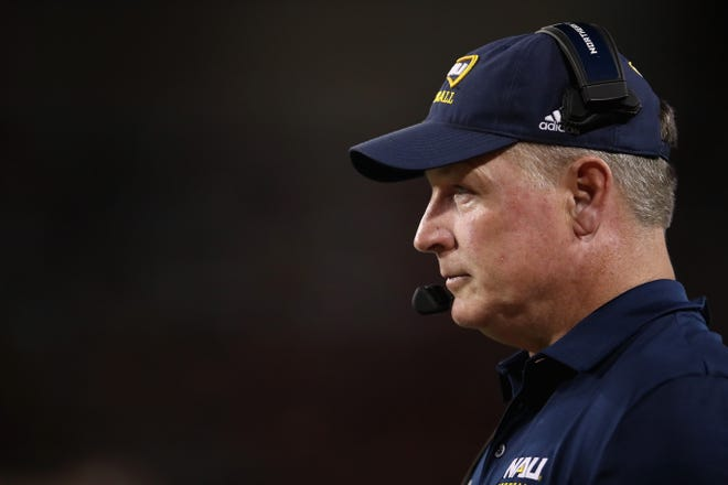 TUCSON, ARIZONA - SEPTEMBER 07: Head coach Chris Ball of the Northern Arizona Lumberjacks watches from the sidelines during the first half of the NCAAF game against the Arizona Wildcats at Arizona Stadium on September 07, 2019 in Tucson, Arizona. (Photo by Christian Petersen/Getty Images)