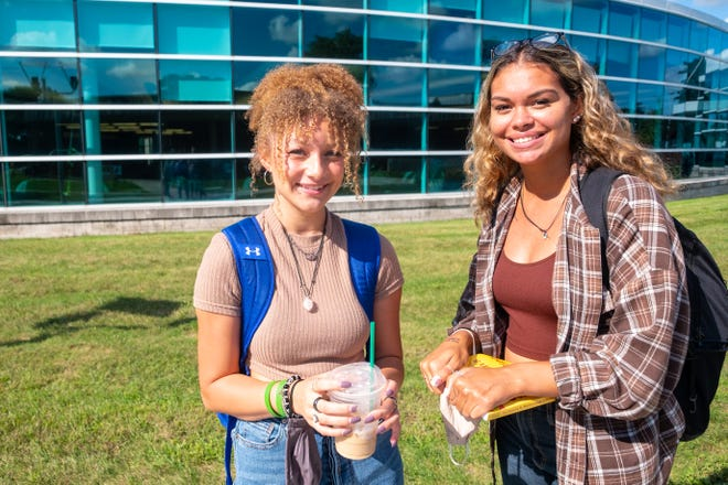 Gabbie Maul, left, and Bre Soto-Bullard pose for a portrait after being interviewed Thursday, Sept. 16, 2021, on SC4's downtown Port Huron campus.