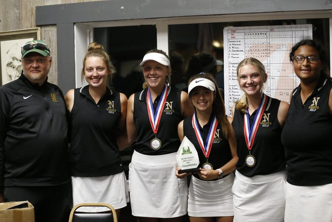 Northeastern girls golf shot 191 to win the Wayne County tournament by 23 strokes at Winding Branch Golf Course on Wednesday, Sept. 16, 2021.