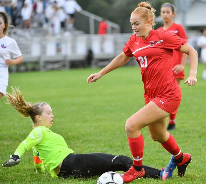 Palmyra-Macedon's Emma Robinson moves past Penn Yan goalkeeper Elle Harrison to score a goal during Wednesday's match.