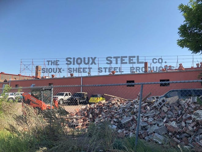 Evidence of demo work sits at the future Steel District site, which used to house the majority of the Sioux Steel Company.