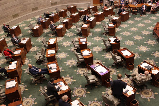 Senate Majority Leader Caleb Rowden, pictured bottom right, addresses the Senate floor on Sept. 15, 2021. The Columbia Republican defended Lt. Gov. Mike Kehoe and fellow party leaders in a fierce argument among the majority caucus.