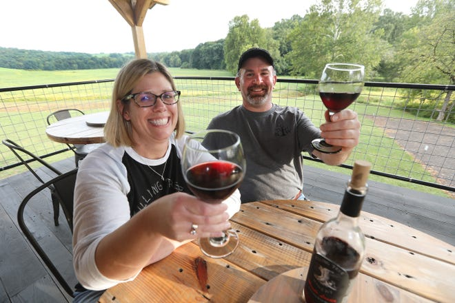 Amy and Ernie Fry opened Killing Tree Winery near Wakatomika, north of Dresden, on Labor Day.