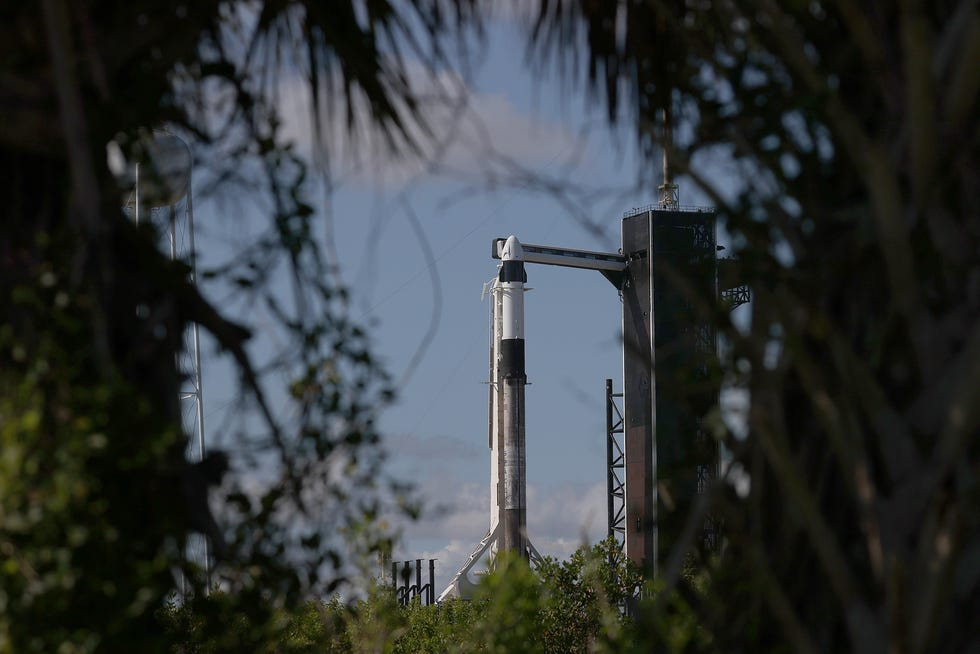 The SpaceX Falcon 9 rocket and Crew Dragon sit on launch Pad 39A at NASA's Kennedy Space Center as it gets prepared for launch.
