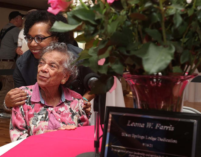 Leona Farris, 104, poses for a photograph with her daughter Laura Farris-Daugherty before the city of Stow's dedication ceremony Sept. 16 to rename Silver Springs Lodge as the Leona Farris Lodge. Harris is being honored for her groundbreaking work throughout Stow's history.