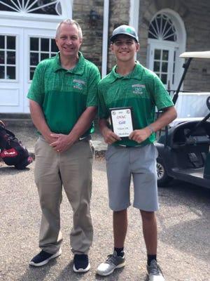 Carter Wells, champ of the 3A OVAC Golf Tournament with Shamrock head coach Jerry Robinson.