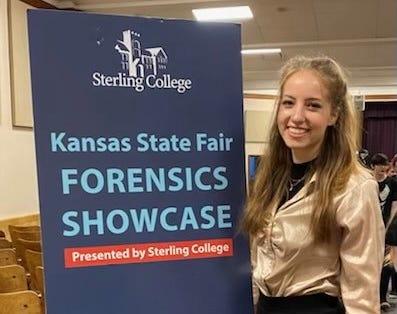 Savannah McCreight performs at the fifth Kansas State Fair Forensics Showcase