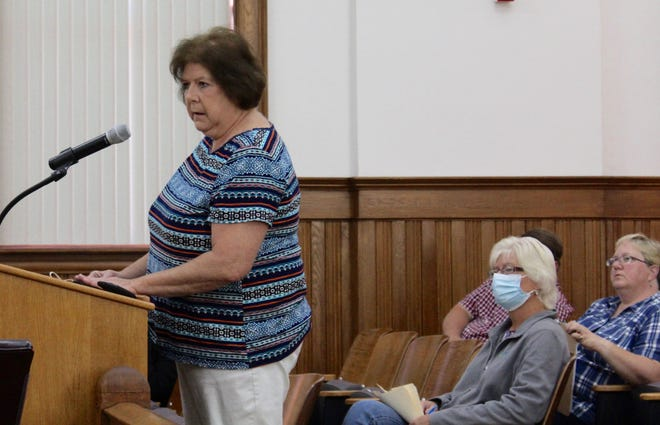 Yates County Clerk Lois Hall addressing the County Legislature, urging them to pass a local law banning dangerous weapons from the county office building. Recent increases in angry and violent visitors to county offices, especially the DMV, have raised concerns for the safety of public employees.