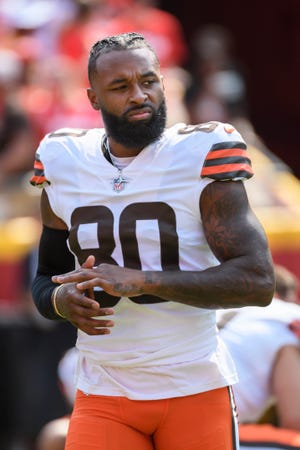 Browns wide receiver Jarvis Landry won't play against the Chicago Bears on Sunday and could miss several games with a strained MCL. [USA TODAY Network]