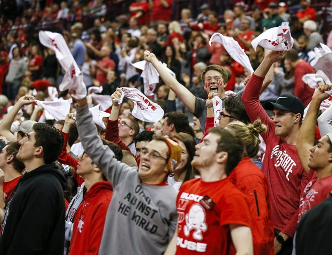Fans cheer after Ohio State scores in the first half of the NCAA men's basketball game between the Ohio State Buckeyes and the Michigan State Spartans at Value City Arena in Columbus on Saturday, Jan. 5, 2019. [Tyler Schank/Dispatch]