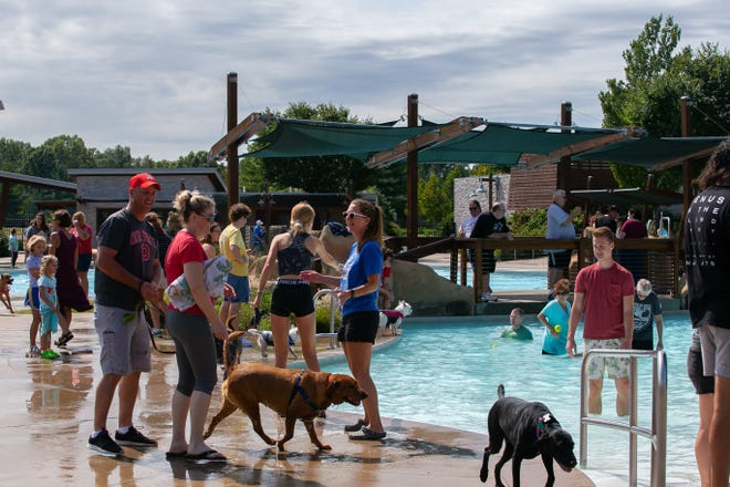 The end-of-summer Doggie Paddle at Highlands Park Aquatic Center in Westerville had a strong turnout Sept. 11, despite the event taking place during the Ohio State University Buckeyes football team's home opener against Oregon. The game's broadcast was played over the aquatics center's loud speakers.