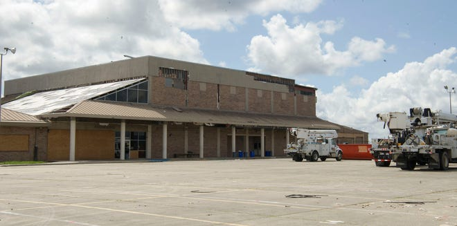 Damage from Hurricane Ida is seen Thursday, Sept. 16, 2021, at Ellender High School in Houma.