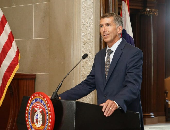 Donald Kauerauf, the director of the Department of Health and Senior Services, speaks at the Missouri Capitol in Jefferson City on July 21, 2021. Kauerauf spoke last week on dealing with COVID-19 in Missouri schools, pending federal vaccine guidelines and a new law in the state curbing the power of local health officials.