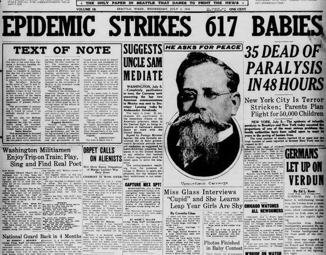 Epidemic strikes 617 Babies; 35 dead of paralysis in 48 hours; New York City Is Terror Stricken, Parents plan flight for 50,000 children - July 5, 1916