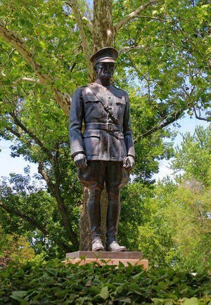 A bronze statue of Gen. John J. Pershing stands just north of his boyhood home in Laclede, Missouri.