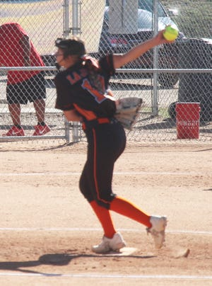 La Junta High School's Madison Wiley sends a pitch to the plate against Rocky Ford Thursday at Rocky Ford. The Tigers defeated the Meloneers 7-4.
