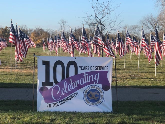 Approximately 500 American flags are set up each year during the club's Flags of Honor display.