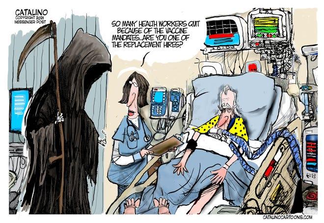 Local cartoonist Ken Catalino on COVID-19 vaccine mandates.