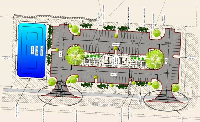 A schematic drawing shows the proposed layout for a parking lot on Walton County Highway near Walton County Road 30A, a popular tourist route. The lot includes a trolley station as part of an effort to boost public transit.