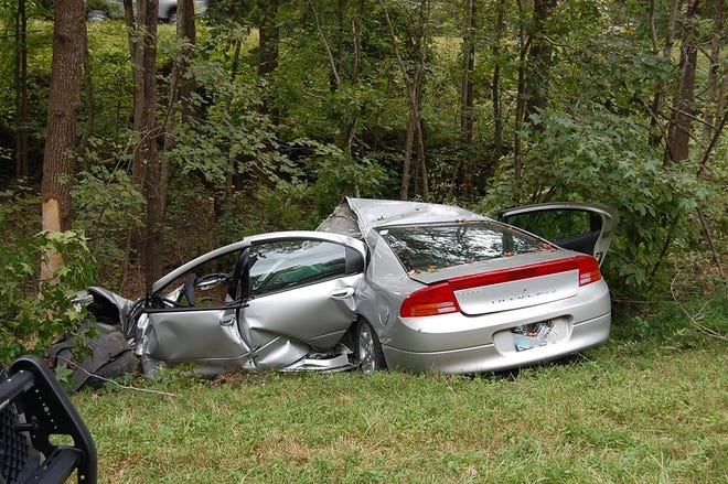 This photo from the Virginia State Police shows a Dodge Intrepid that crashed into a tree along U.S. Route 460 in western Dinwiddie County Thursday, Sept. 16, 2021. The driver, a 79-year-old man from Wilsons, Virginia, died at the scene.