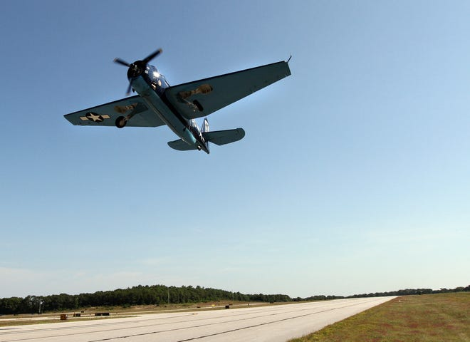 A  World War II-era TBM-3 Avenger takes off from Westerly State Airport in a 2017 flight for a veteran of the war. Other World War II-era aircraft will take place in a formation-flying clinic Saturday and Sunday at the airport.