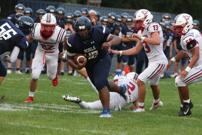 South Kingstown's Ryan Hazard (shown from action earlier this season) came through late for the Rebels in their 21-20 win over Burrillville Saturday.