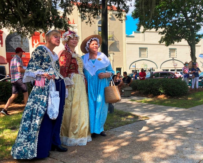 St. Augustine residents Karen Lewis, Brenda Graves and Laura Morgan stand in the Plaza de la Constitucion on Friday afternoon during a ceremony recognizing the kickoff to Constitution Week. The annual event celebrates the U.S. Constitution, which was signed on Sept. 17, 1787. The women, who dressed in period-appropriate attire for the event, are members of the Maria Jefferson Chapter of the Daughters of the American Revolution. The chapter arranged the ceremony, which featured speeches by local elected officials, bell ringing and songs in the Plaza's gazebo.