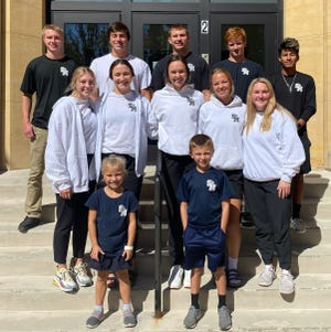 St. Mary's High School announced their Homecoming Court on Friday, Sept. 17, front from left: Junior Attendants Quinn Cook and Avery Cook. Middle: Reagan Serverson, Madison Mathiowetz, Julia Helget, Maya Nelson, Kya Krzmarzick. Back: Jadon Schroepfer, Jacob Stevens, Carson Domeier, Trent Steffensmeier, Joey Herzog. Homecoming Week begins with Coronation on Sunday, Sept. 26 at 7 p.m. and continues through the rest of the week.