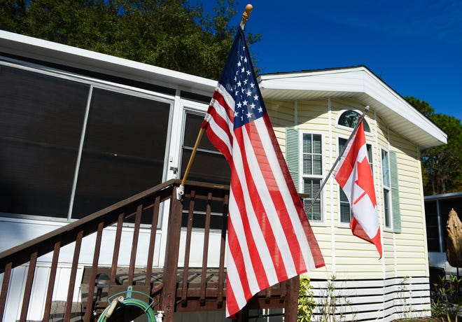 Many residents at Sun Outdoors Sarasota display both the American and Canadian flags outside their residences. More snowbirds are planning to return south for the winter in 2021.