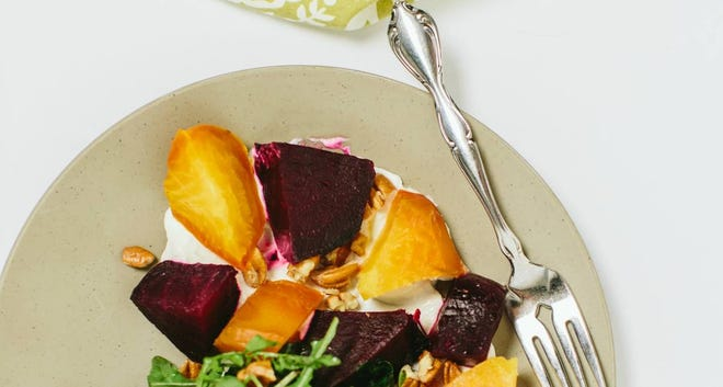 Beet salad with goat cheese mousse