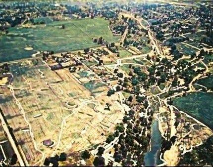 1925 aerial photo of Baker Park.