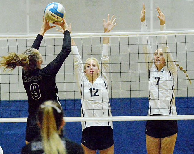 Waubay-Summit's Masey Chapin attempts to trip over Great Plains Lutheran sisters Bryn (12) and Oliva Holmen (7) during their high school volleyball match Thursday night in Watertown. Great Plains Lutheran won 3-0.