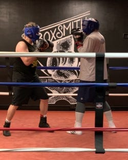 Neil Cohen (right), of Canton, will participate inthe 10th annualHaymakers for Hope Rock N' Rumble charity boxing eventon Oct. 13at the House of Blues Boston.