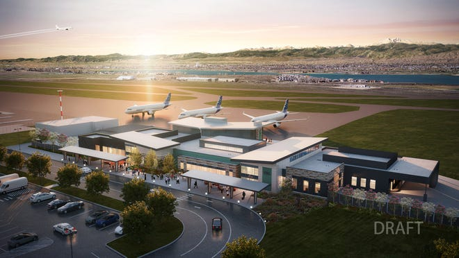 A rendering of the potential design for a new terminal at Northern Colorado Regional Airport. The airport intends to use about $19 million in federal funding to build the terminal by mid-2024.