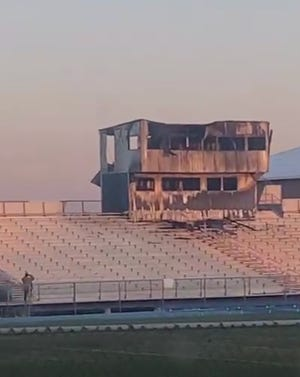 Snowflake High's stadium press box was burned down in a fire. It is under investigation. Photo provided by Snowflake Football