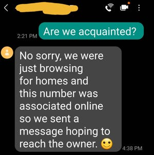 A response from 'Sylvia' to Scott Willson considering an address and whether he lived at and would be interested in selling it. The address is not listed for sale on any legitimate MLS.