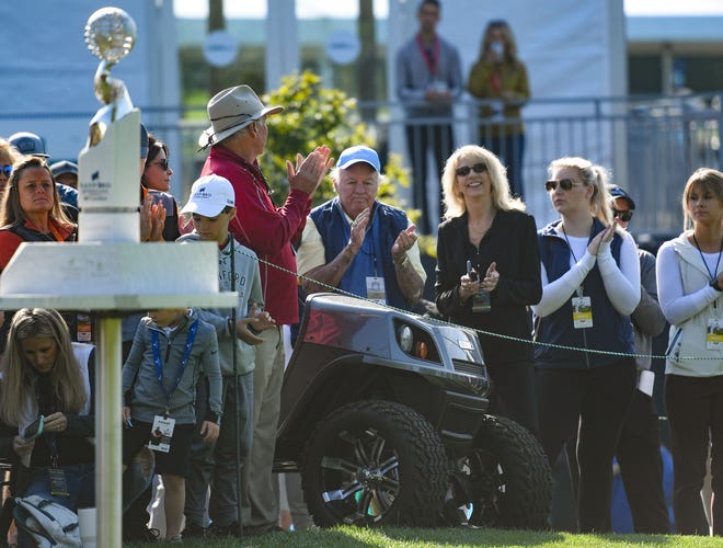 T. Denny Sanford, center, sits on a golf cart during the opening ceremonies of the Sanford International golf tournament on Friday, September 17, 2021, at the Minnehaha Country Club in Sioux Falls.